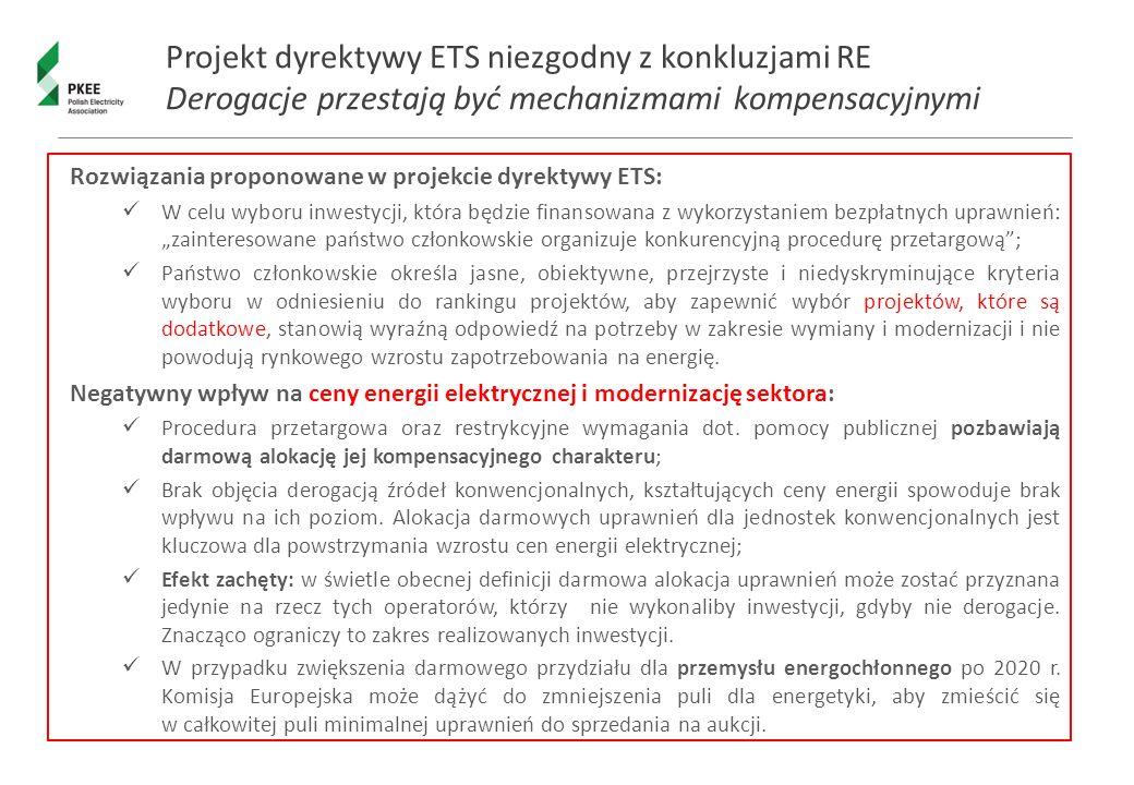 """Projekt dyrektywy ETS niezgodny z konkluzjami RE Derogacje przestają być mechanizmami kompensacyjnymi Rozwiązania proponowane w projekcie dyrektywy ETS: W celu wyboru inwestycji, która będzie finansowana z wykorzystaniem bezpłatnych uprawnień: """"zainteresowane państwo członkowskie organizuje konkurencyjną procedurę przetargową ; Państwo członkowskie określa jasne, obiektywne, przejrzyste i niedyskryminujące kryteria wyboru w odniesieniu do rankingu projektów, aby zapewnić wybór projektów, które są dodatkowe, stanowią wyraźną odpowiedź na potrzeby w zakresie wymiany i modernizacji i nie powodują rynkowego wzrostu zapotrzebowania na energię."""