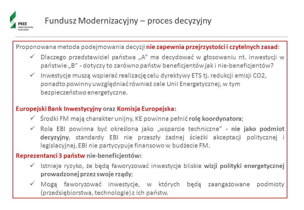 """Fundusz Modernizacyjny – proces decyzyjny Proponowana metoda podejmowania decyzji nie zapewnia przejrzystości i czytelnych zasad: Dlaczego przedstawiciel państwa """"A ma decydować w głosowaniu nt."""