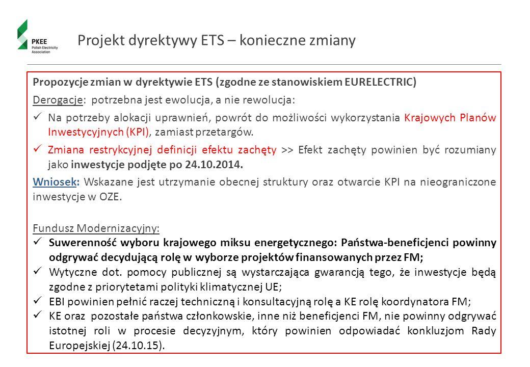 Projekt dyrektywy ETS – konieczne zmiany Propozycje zmian w dyrektywie ETS (zgodne ze stanowiskiem EURELECTRIC) Derogacje: potrzebna jest ewolucja, a nie rewolucja: Na potrzeby alokacji uprawnień, powrót do możliwości wykorzystania Krajowych Planów Inwestycyjnych (KPI), zamiast przetargów.
