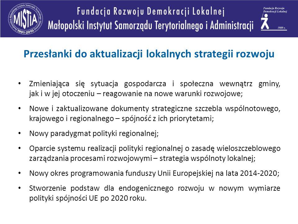 Zmieniająca się sytuacja gospodarcza i społeczna wewnątrz gminy, jak i w jej otoczeniu – reagowanie na nowe warunki rozwojowe; Nowe i zaktualizowane dokumenty strategiczne szczebla wspólnotowego, krajowego i regionalnego – spójność z ich priorytetami; Nowy paradygmat polityki regionalnej; Oparcie systemu realizacji polityki regionalnej o zasadę wieloszczeblowego zarządzania procesami rozwojowymi – strategia wspólnoty lokalnej; Nowy okres programowania funduszy Unii Europejskiej na lata 2014-2020; Stworzenie podstaw dla endogenicznego rozwoju w nowym wymiarze polityki spójności UE po 2020 roku.