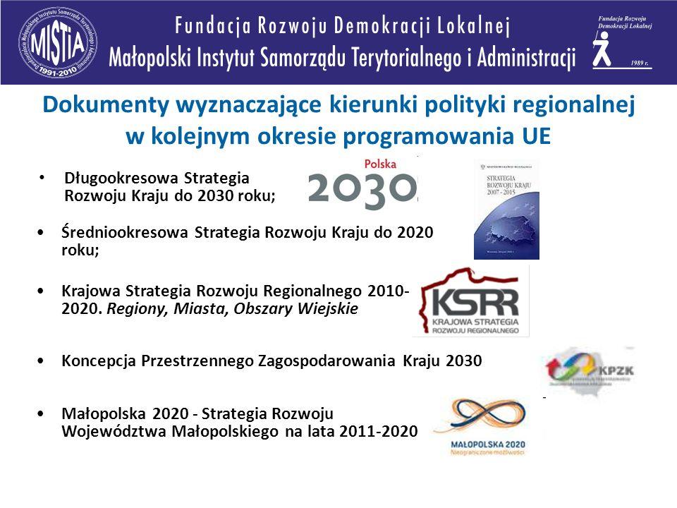 Dokumenty wyznaczające kierunki polityki regionalnej w kolejnym okresie programowania UE Długookresowa Strategia Rozwoju Kraju do 2030 roku; Średniookresowa Strategia Rozwoju Kraju do 2020 roku; Krajowa Strategia Rozwoju Regionalnego 2010- 2020.
