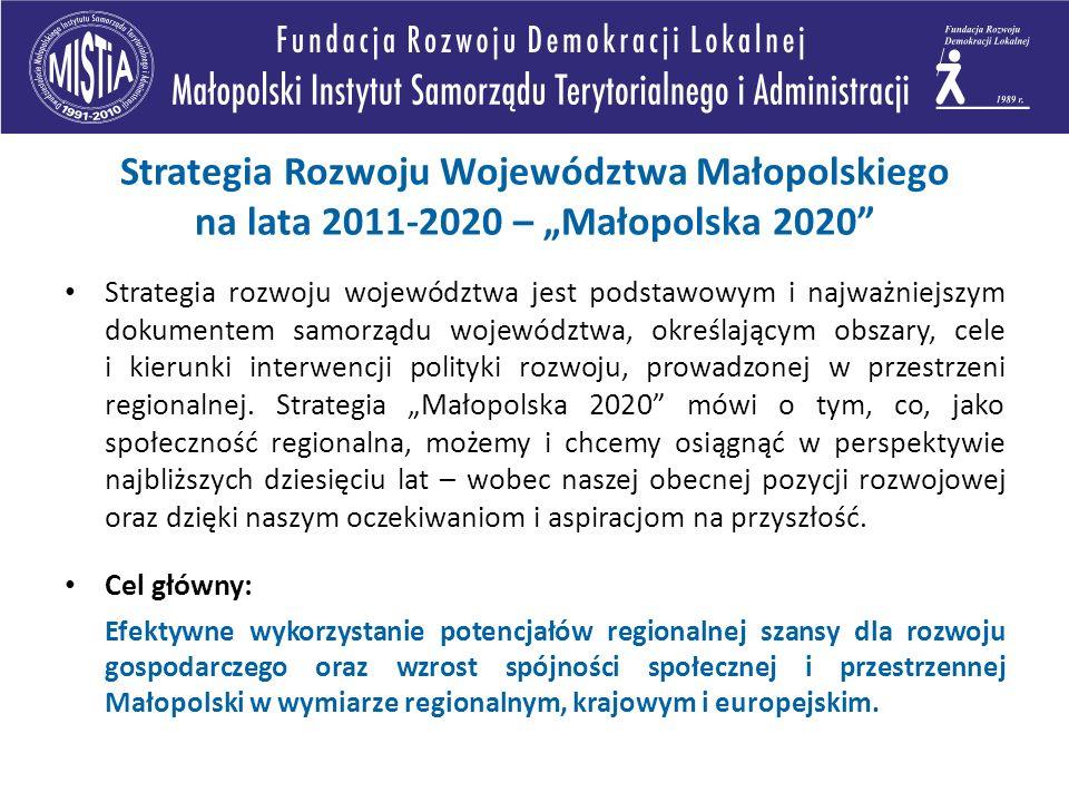 Strategia rozwoju województwa jest podstawowym i najważniejszym dokumentem samorządu województwa, określającym obszary, cele i kierunki interwencji polityki rozwoju, prowadzonej w przestrzeni regionalnej.