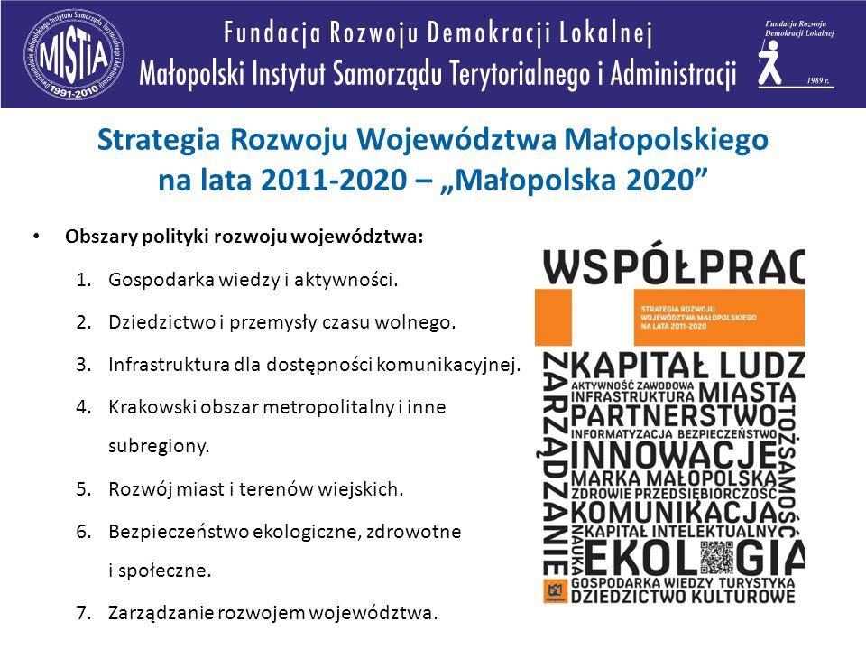 Obszary polityki rozwoju województwa: 1.Gospodarka wiedzy i aktywności. 2.Dziedzictwo i przemysły czasu wolnego. 3.Infrastruktura dla dostępności komu