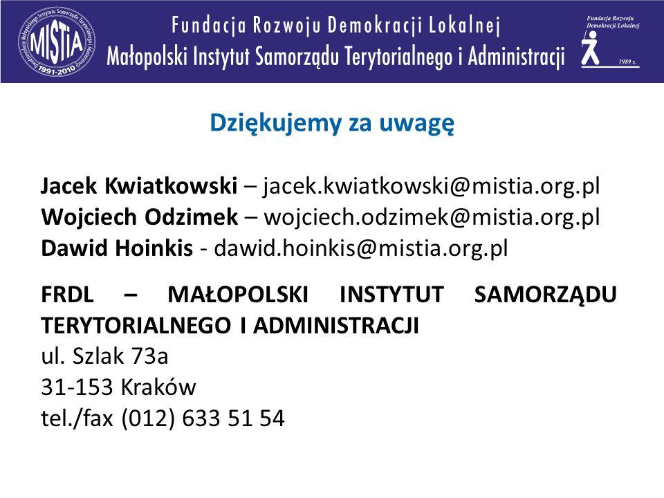 Dziękujemy za uwagę Jacek Kwiatkowski – jacek.kwiatkowski@mistia.org.pl Wojciech Odzimek – wojciech.odzimek@mistia.org.pl Dawid Hoinkis - dawid.hoinkis@mistia.org.pl FRDL – MAŁOPOLSKI INSTYTUT SAMORZĄDU TERYTORIALNEGO I ADMINISTRACJI ul.