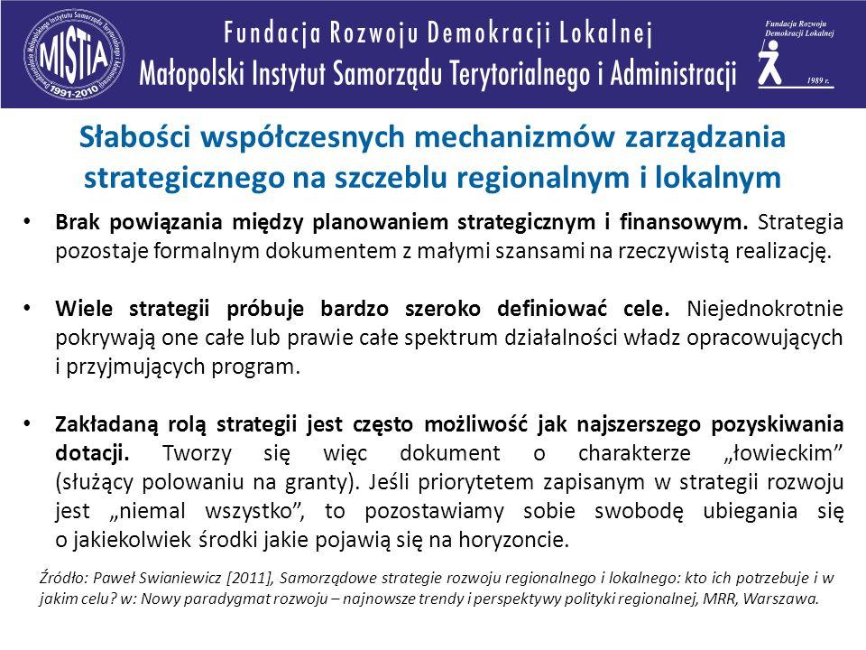 Brak powiązania między planowaniem strategicznym i finansowym. Strategia pozostaje formalnym dokumentem z małymi szansami na rzeczywistą realizację. W