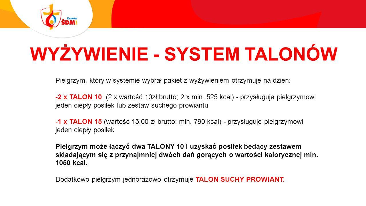 WYŻYWIENIE - SYSTEM TALONÓW Pielgrzym, który w systemie wybrał pakiet z wyżywieniem otrzymuje na dzień: -2 x TALON 10 (2 x wartość 10zł brutto; 2 x min.