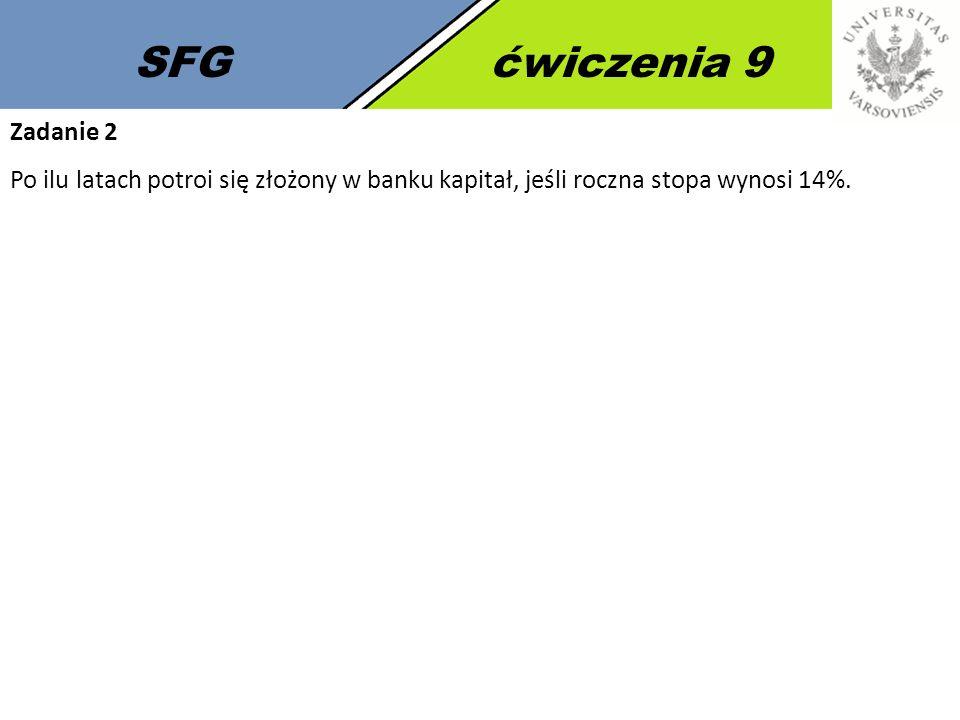SFGćwiczenia 9 Zadanie 2 Po ilu latach potroi się złożony w banku kapitał, jeśli roczna stopa wynosi 14%.