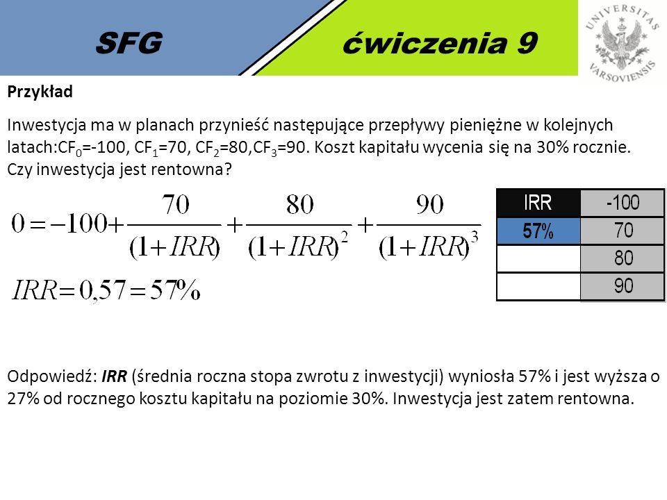 SFGćwiczenia 9 Przykład Inwestycja ma w planach przynieść następujące przepływy pieniężne w kolejnych latach:CF 0 =-100, CF 1 =70, CF 2 =80,CF 3 =90.