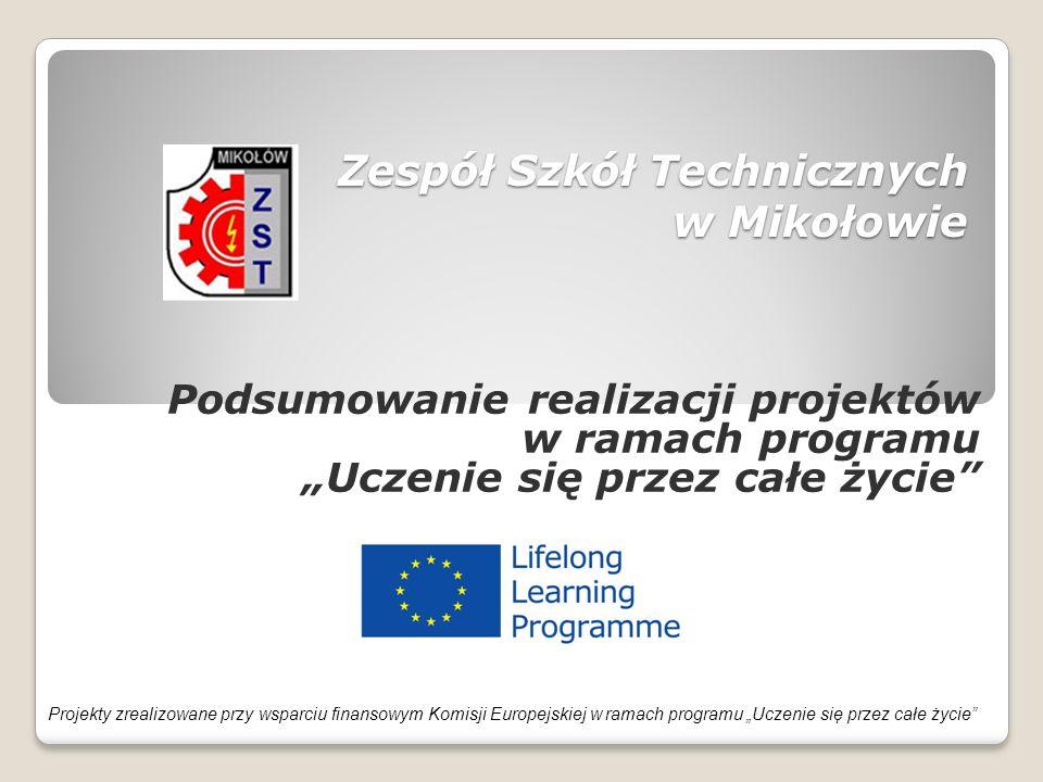 """Projekty zrealizowane w latach 2007-2013 Leonardo da Vinci  2007 - """" Śląscy technicy na zagranicznych praktykach w ramach programu Uczenie się przez całe życie  2009 - """" Staże w UE szansą na sukces młodych techników  2009 - """"Europejskie praktyki potwierdzeniem kompetencji zawodowych polskich uczniów  2010 - """"Europejskie staże dla przyszłych techników z ZST  2011 - """"Doskonalenie zawodowe poprzez wymianę Know How nauczycieli EU  2011 - """"Europejskie standardy w kształceniu zawodowym uczniów ZST  2012 – """"Technicy ZST Mikołów mobilni na europejskim rynku pracy  2012 – """"Europejskie standardy w kształceniu zawodowym"""