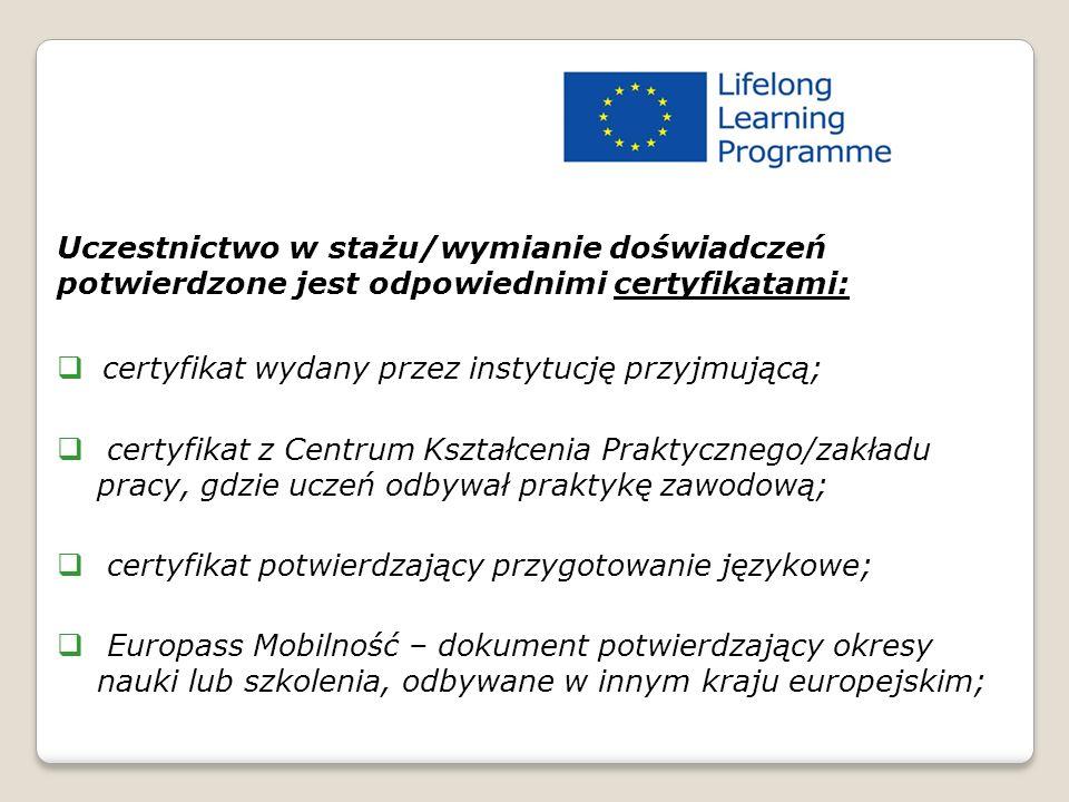 Uczestnictwo w stażu/wymianie doświadczeń potwierdzone jest odpowiednimi certyfikatami:  certyfikat wydany przez instytucję przyjmującą;  certyfikat z Centrum Kształcenia Praktycznego/zakładu pracy, gdzie uczeń odbywał praktykę zawodową;  certyfikat potwierdzający przygotowanie językowe;  Europass Mobilność – dokument potwierdzający okresy nauki lub szkolenia, odbywane w innym kraju europejskim; Certyfikaty – LdV IVT 2011/2012dV