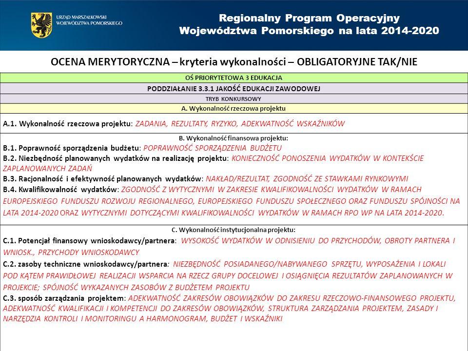 Regionalny Program Operacyjny Województwa Pomorskiego na lata 2014-2020 OŚ PRIORYTETOWA 3 EDUKACJA PODDZIAŁANIE 3.3.1 JAKOŚĆ EDUKACJI ZAWODOWEJ TRYB KONKURSOWY A.