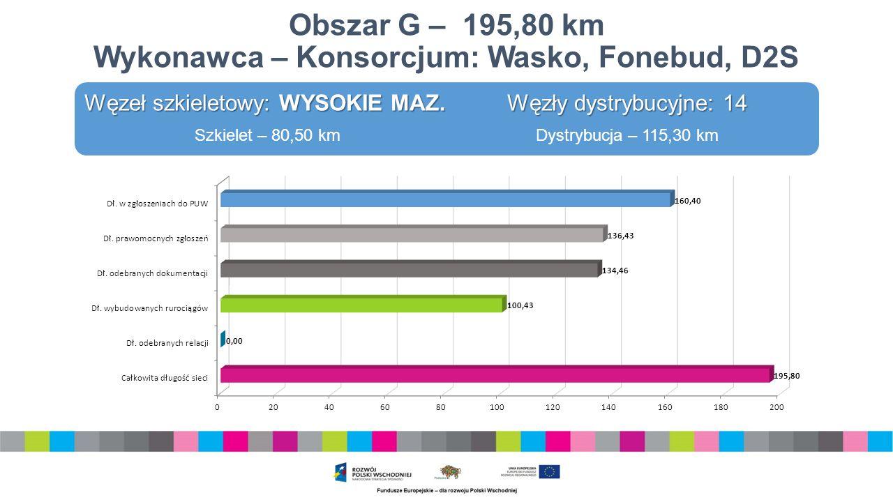 Obszar G – 195,80 km Wykonawca – Konsorcjum: Wasko, Fonebud, D2S Węzeł szkieletowy: WYSOKIE MAZ.