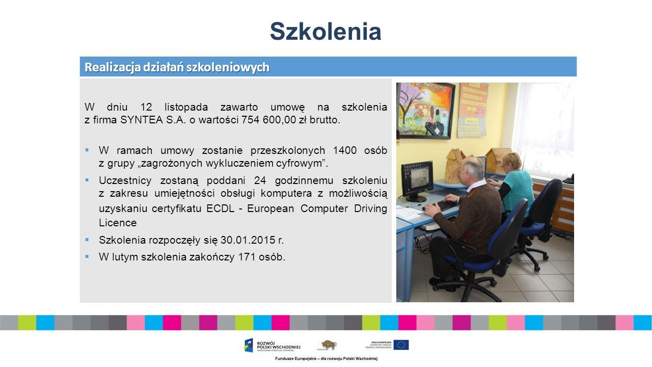 Szkolenia Realizacja działań szkoleniowych W dniu 12 listopada zawarto umowę na szkolenia z firma SYNTEA S.A.
