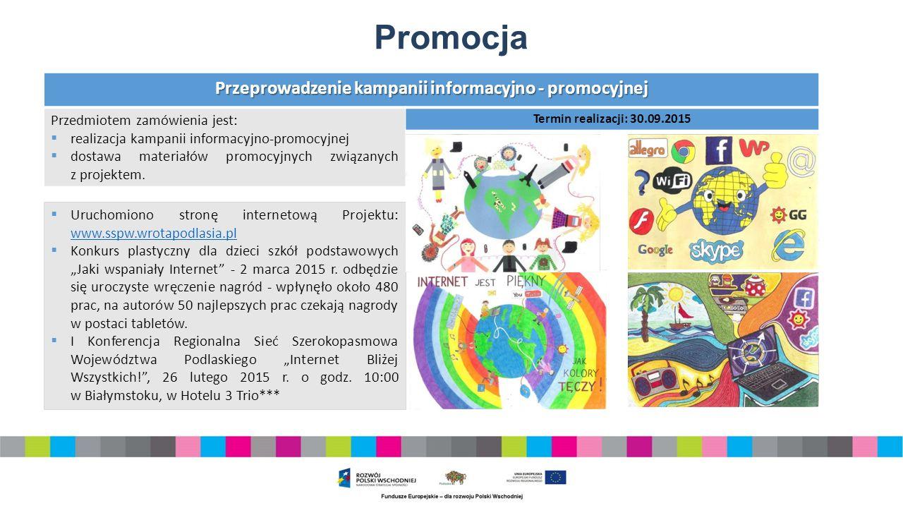 Promocja Przeprowadzenie kampanii informacyjno - promocyjnej Przedmiotem zamówienia jest:  realizacja kampanii informacyjno-promocyjnej  dostawa materiałów promocyjnych związanych z projektem.