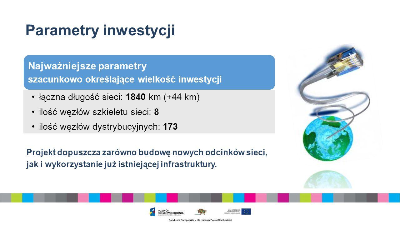 Parametry inwestycji Najważniejsze parametry szacunkowo określające wielkość inwestycji łączna długość sieci: 1840 km (+44 km) ilość węzłów szkieletu sieci: 8 ilość węzłów dystrybucyjnych: 173 Projekt dopuszcza zarówno budowę nowych odcinków sieci, jak i wykorzystanie już istniejącej infrastruktury.