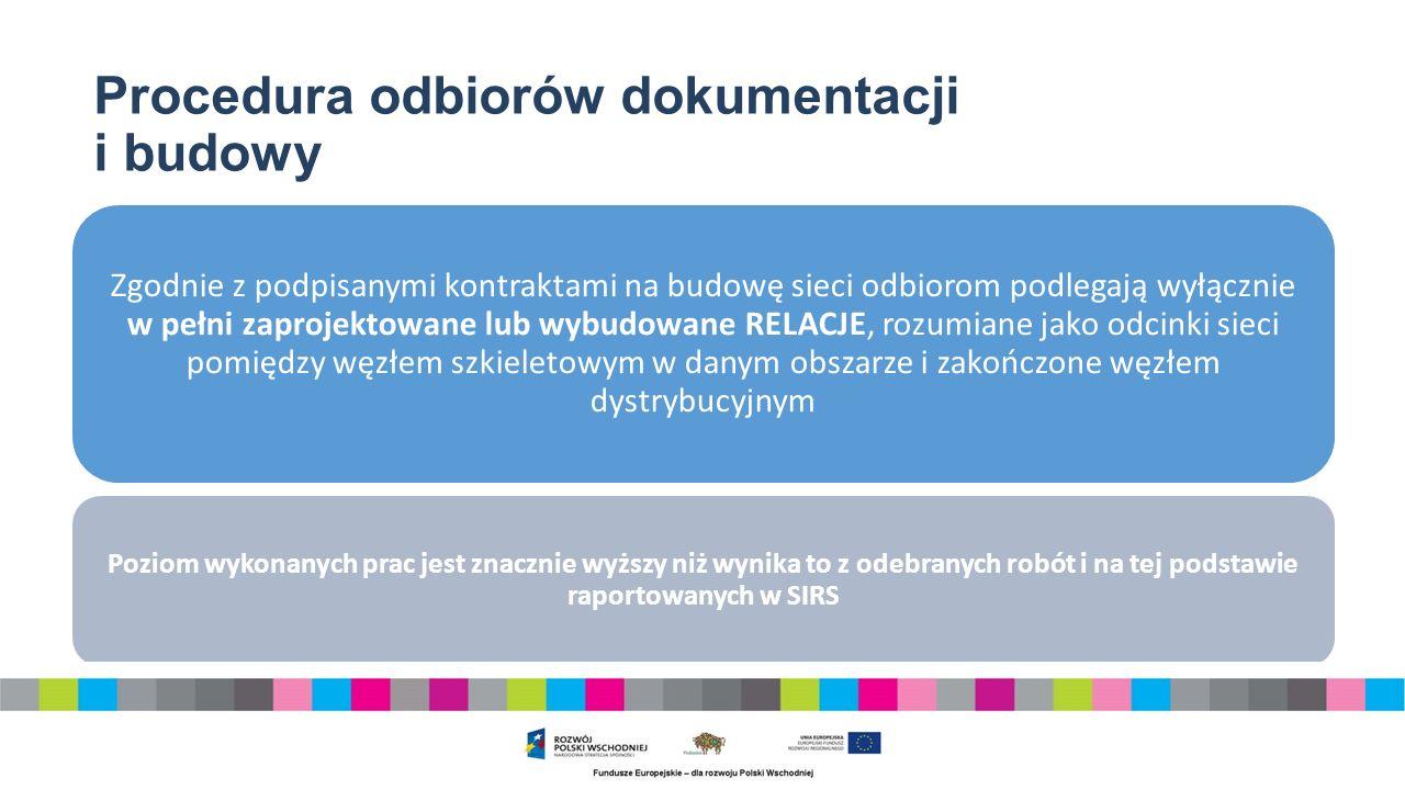 Procedura odbiorów dokumentacji i budowy Zgodnie z podpisanymi kontraktami na budowę sieci odbiorom podlegają wyłącznie w pełni zaprojektowane lub wybudowane RELACJE, rozumiane jako odcinki sieci pomiędzy węzłem szkieletowym w danym obszarze i zakończone węzłem dystrybucyjnym Poziom wykonanych prac jest znacznie wyższy niż wynika to z odebranych robót i na tej podstawie raportowanych w SIRS