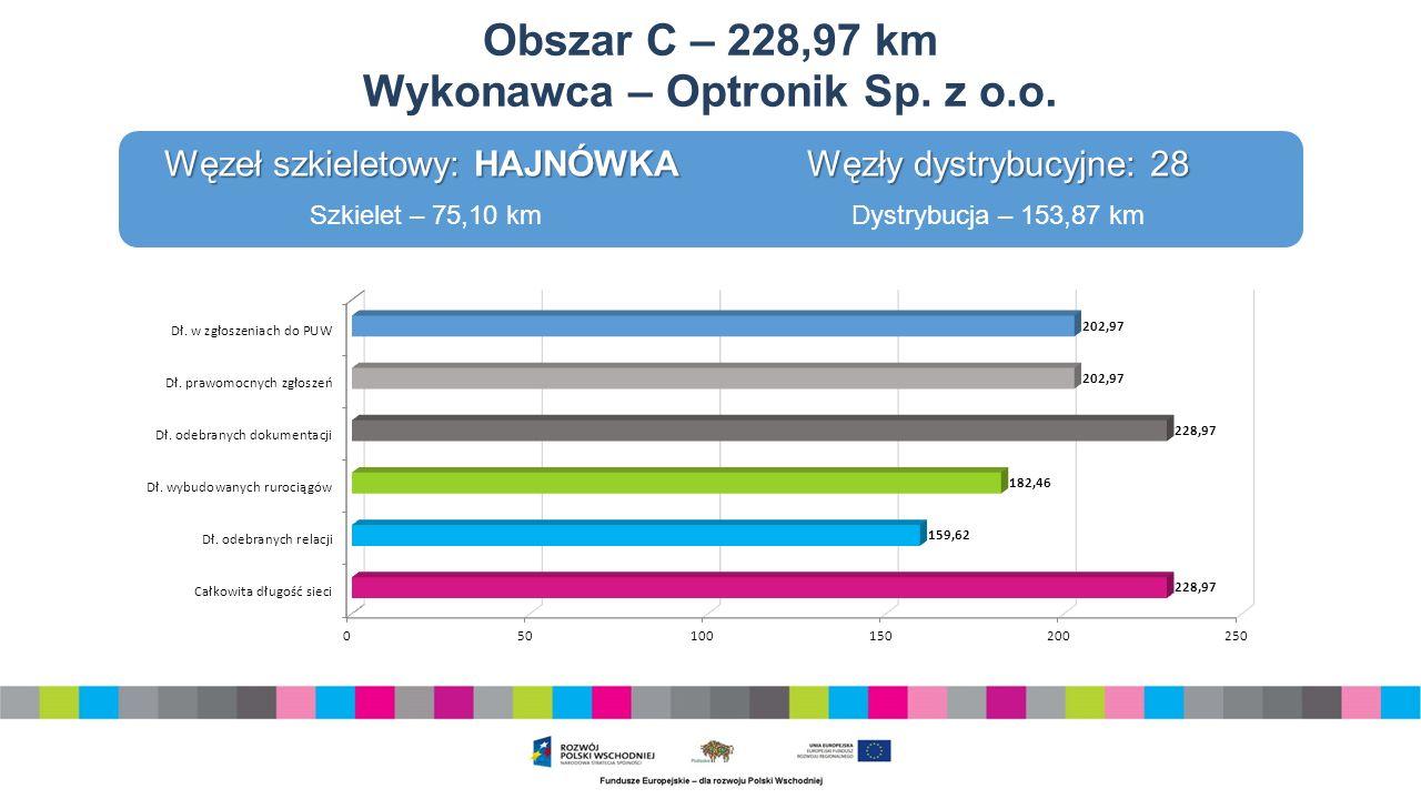Obszar D – 178,00 km Wykonawca – Konsorcjum: KT Corporation, WPRT S.A., Daewoo International CO, Biatel Telekomunikacja S.A.