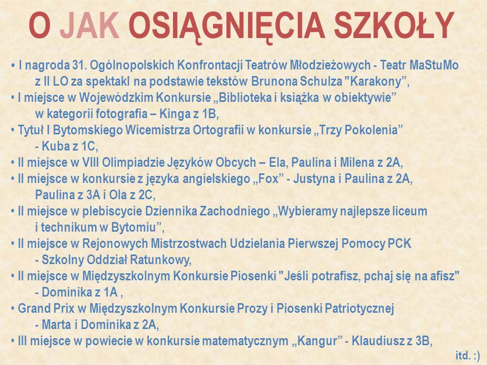 O JAK OSIĄGNIĘCIA SZKOŁY I nagroda 31. Ogólnopolskich Konfrontacji Teatrów Młodzieżowych - Teatr MaStuMo z II LO za spektakl na podstawie tekstów Brun