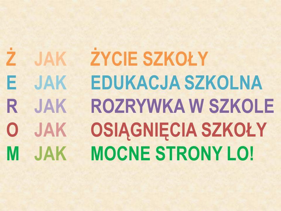 """M JAK MOCNE STRONY LICEUM Tytuł """"Szkoły z klasą (certyfikat 1938762), Wymiana polsko - niemiecka (Bytom - Cloppenburg), Rejs szkoleniowy dla młodzieży statkiem """"STS Generał Zaruski na wodach Bałtyku, Dziennik elektroniczny, Szkolny Oddział Ratunkowy, który organizuje kurs I pomocy, Program własny """"Laboratorium Teatralne , Teatr Sauté i grupa teatralna """"Można Już Łowić , Współpraca z Politechniką Śląską, Kurs dla sędziów pływackich PZP, Górskie łazikowanie z profesjonalnym przewodnikiem, Wojtkowe spotkania i Fuksówki, czyli imprezy integrujące I klasy ogólne i teatralne, Wizyta w konsulacie USA w Krakowie, Studniówkowy polonez według pomysłu nauczyciela tańca, Program działań artystycznych """"Szkoła Aktywna Twórczo SAT , Stowarzyszenie na Rzecz Rozwoju Szkoły """"Żeromszczak , Nowoczesna sala gimnastyczna, siłownia, szkolna kawiarenka, wyremontowane sale lekcyjne, Dzień bez jedynki, Obóz narciarski w górach, Prężnie działający Samorząd Uczniowski, Pielgrzymka przed maturą do Czernej..."""