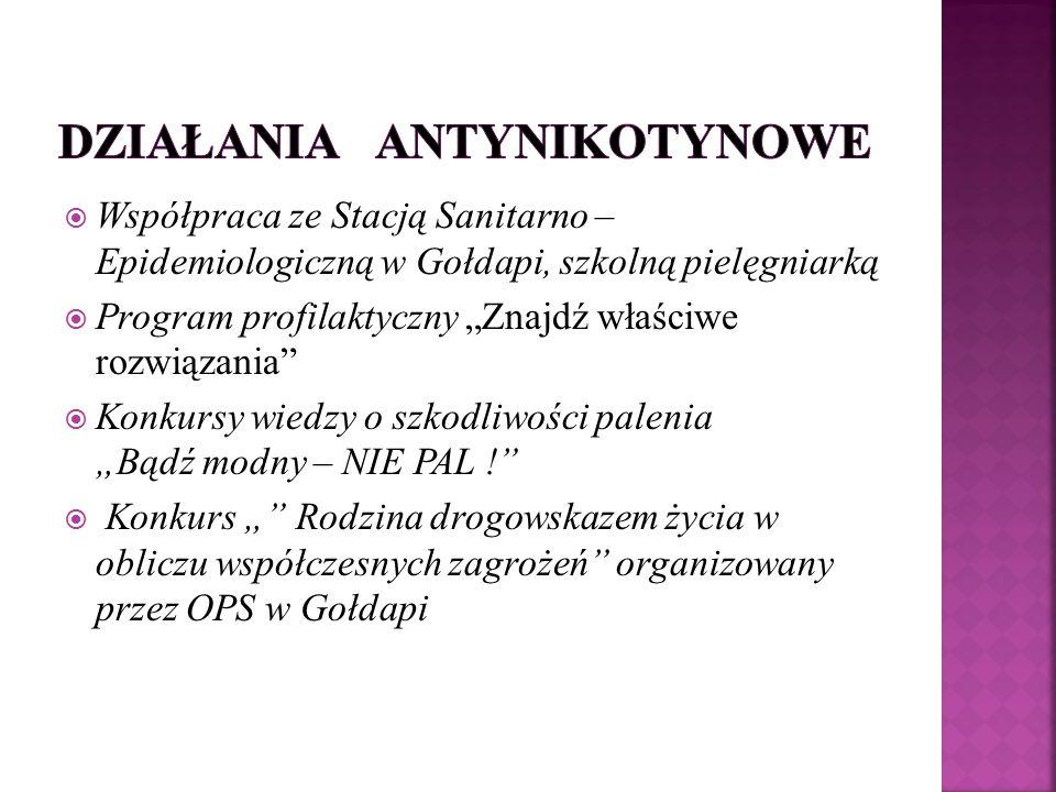""" Współpraca ze Stacją Sanitarno – Epidemiologiczną w Gołdapi, szkolną pielęgniarką  Program profilaktyczny """"Znajdź właściwe rozwiązania  Konkursy wiedzy o szkodliwości palenia """"Bądź modny – NIE PAL !  Konkurs """" Rodzina drogowskazem życia w obliczu współczesnych zagrożeń organizowany przez OPS w Gołdapi"""