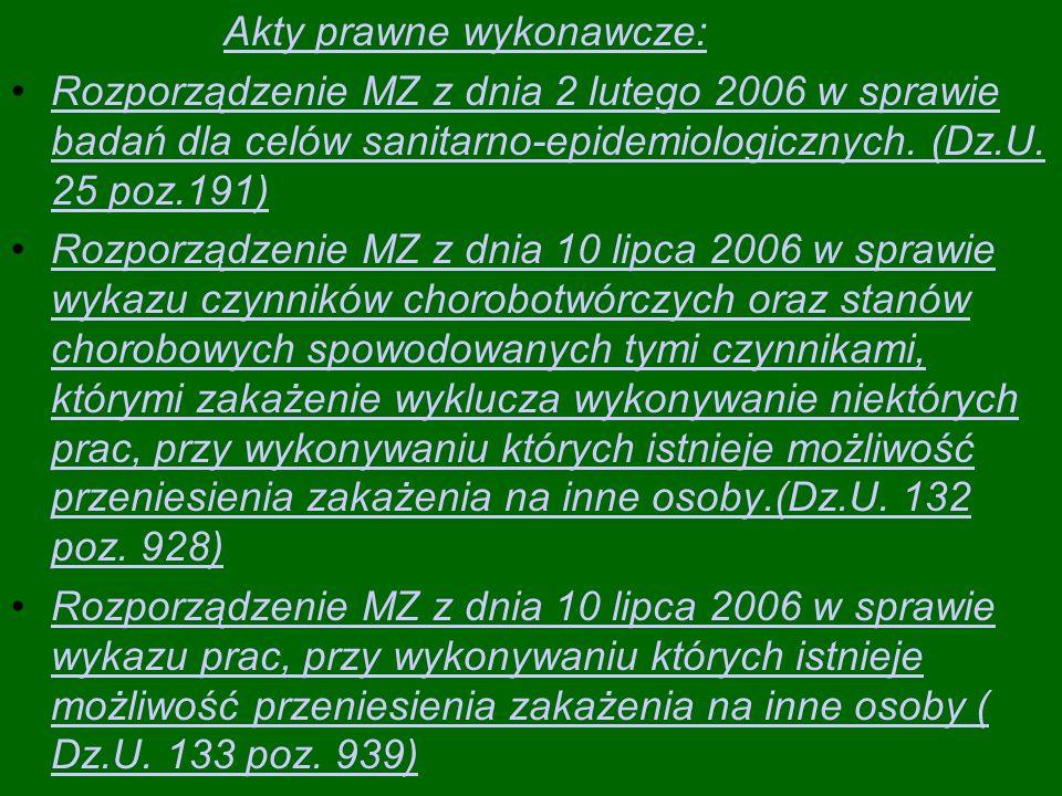 Akty prawne wykonawcze: Rozporządzenie MZ z dnia 2 lutego 2006 w sprawie badań dla celów sanitarno-epidemiologicznych.