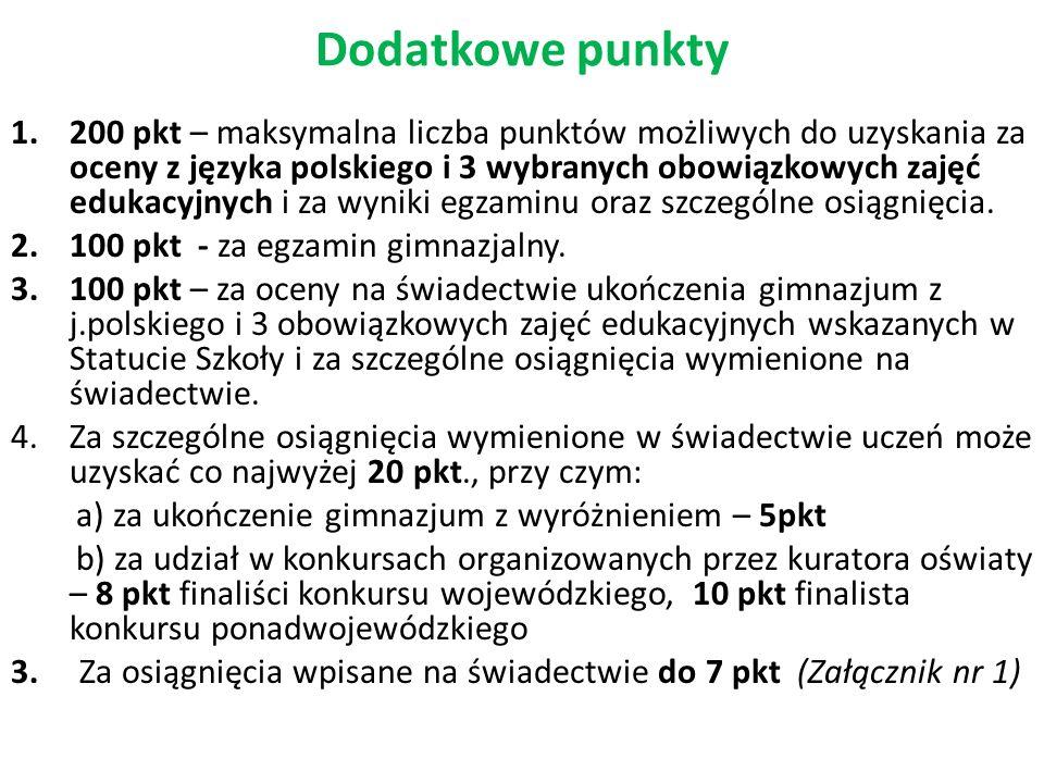 Dodatkowe punkty 1.200 pkt – maksymalna liczba punktów możliwych do uzyskania za oceny z języka polskiego i 3 wybranych obowiązkowych zajęć edukacyjny