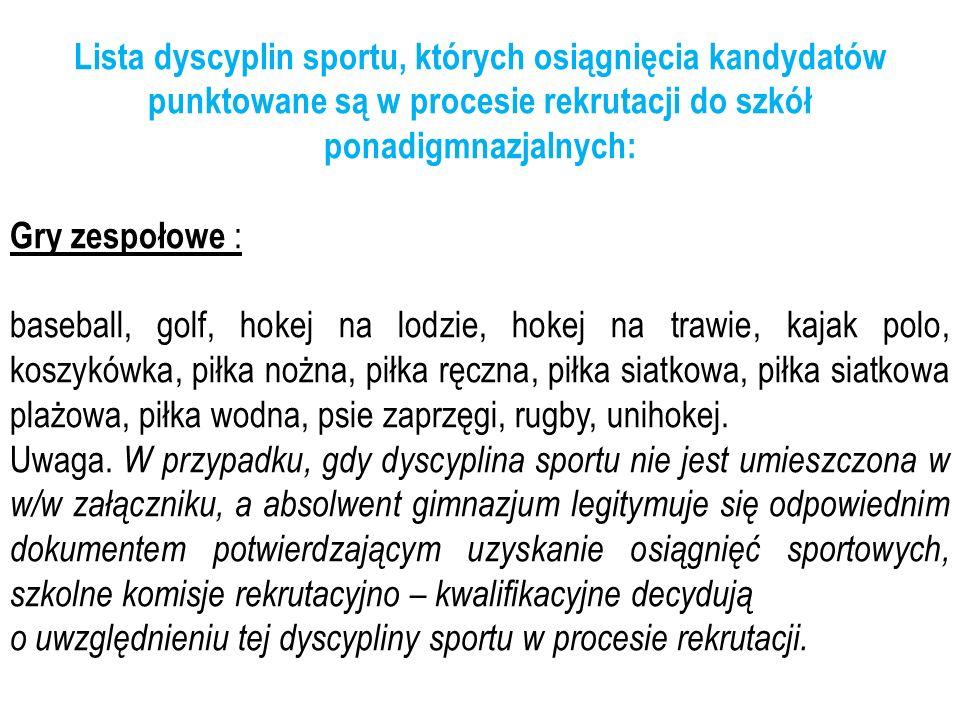 Lista dyscyplin sportu, których osiągnięcia kandydatów punktowane są w procesie rekrutacji do szkół ponadigmnazjalnych: Gry zespołowe : baseball, golf