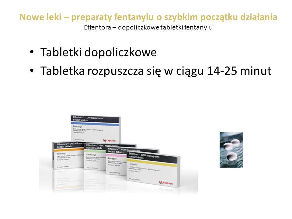 Nowe leki – preparaty fentanylu o szybkim początku działania Effentora – dopoliczkowe tabletki fentanylu Tabletki dopoliczkowe Tabletka rozpuszcza się