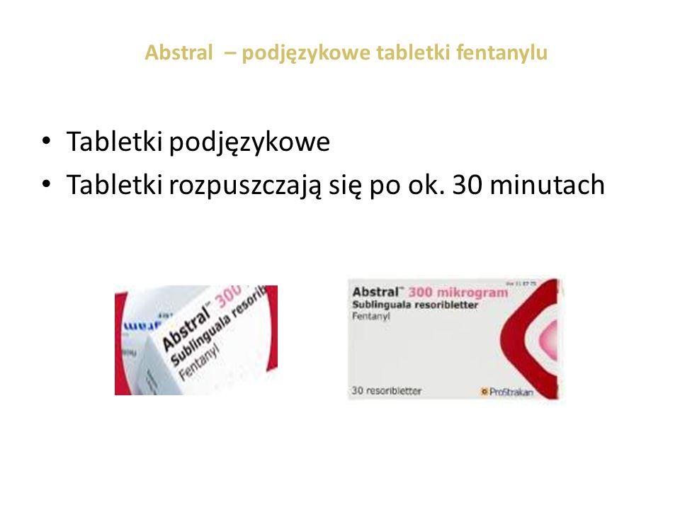 Abstral – podjęzykowe tabletki fentanylu Tabletki podjęzykowe Tabletki rozpuszczają się po ok. 30 minutach