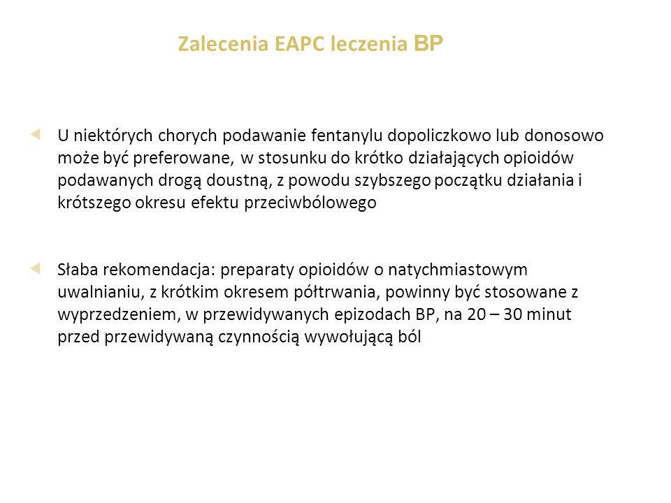 Zalecenia EAPC leczenia BP U niektórych chorych podawanie fentanylu dopoliczkowo lub donosowo może być preferowane, w stosunku do krótko działających