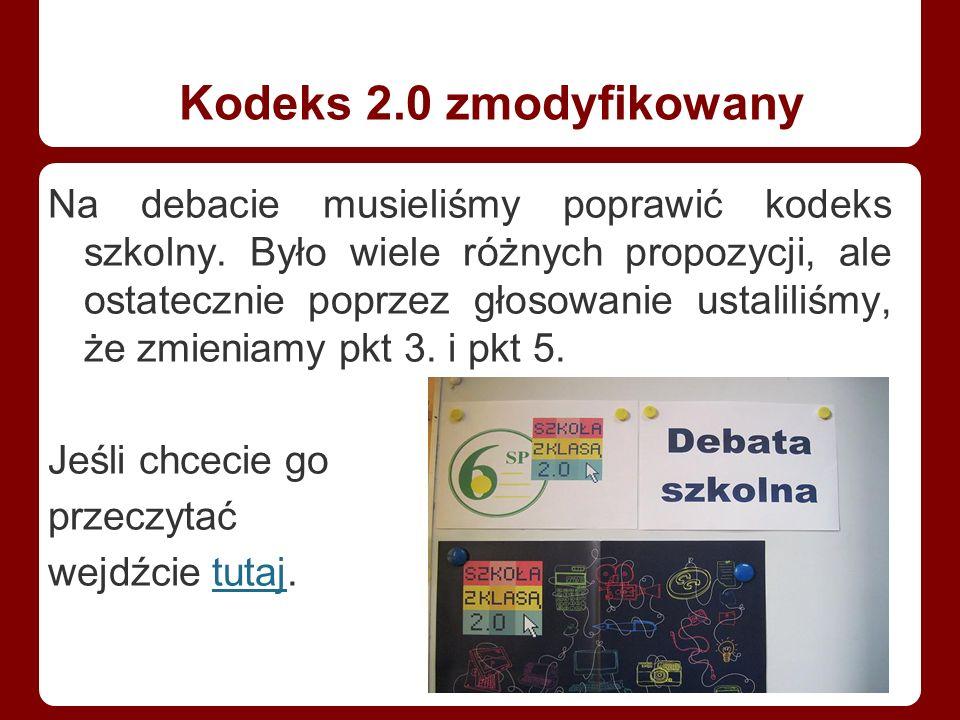 Kodeks 2.0 zmodyfikowany Na debacie musieliśmy poprawić kodeks szkolny.