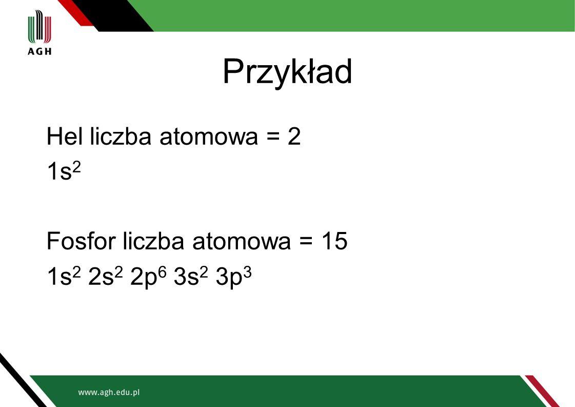 Przykład Hel liczba atomowa = 2 1s 2 Fosfor liczba atomowa = 15 1s 2 2s 2 2p 6 3s 2 3p 3