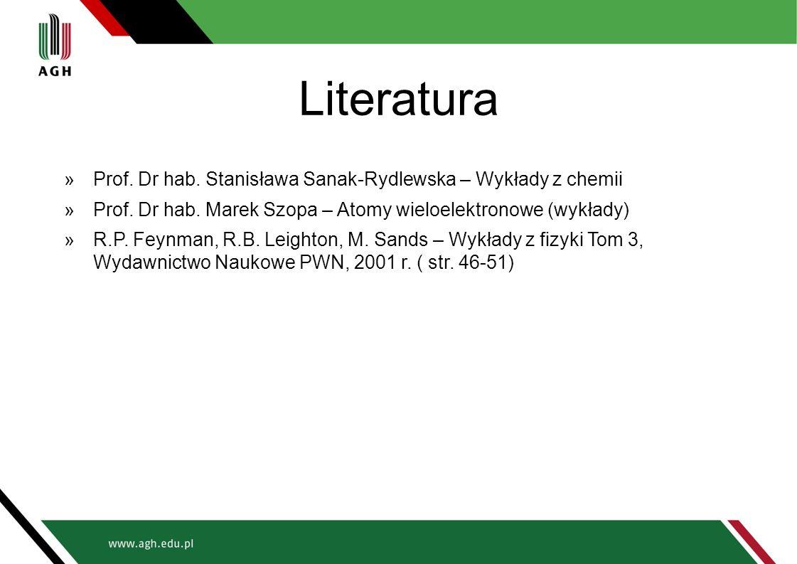 Literatura »Prof. Dr hab. Stanisława Sanak-Rydlewska – Wykłady z chemii »Prof. Dr hab. Marek Szopa – Atomy wieloelektronowe (wykłady) »R.P. Feynman, R