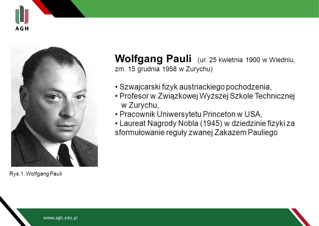 Wolfgang Pauli (ur. 25 kwietnia 1900 w Wiedniu, zm. 15 grudnia 1958 w Zurychu) Szwajcarski fizyk austriackiego pochodzenia, Profesor w Związkowej Wyżs