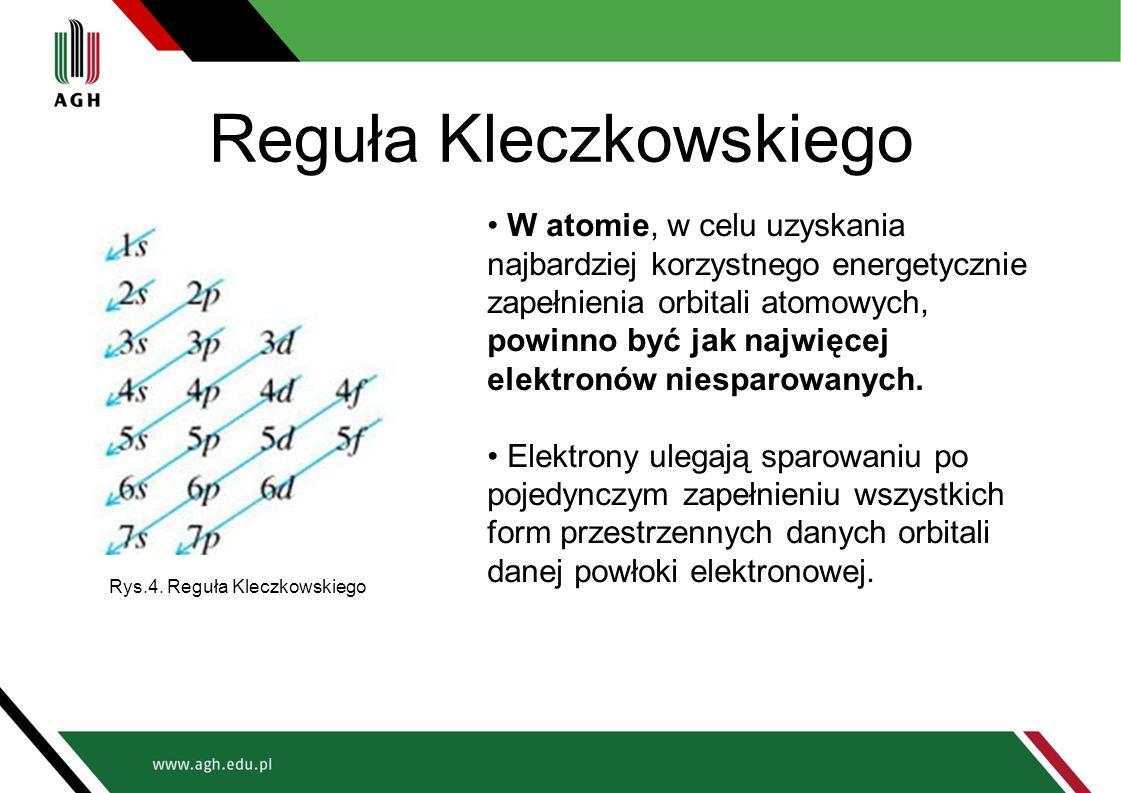 Reguła Kleczkowskiego W atomie, w celu uzyskania najbardziej korzystnego energetycznie zapełnienia orbitali atomowych, powinno być jak najwięcej elekt
