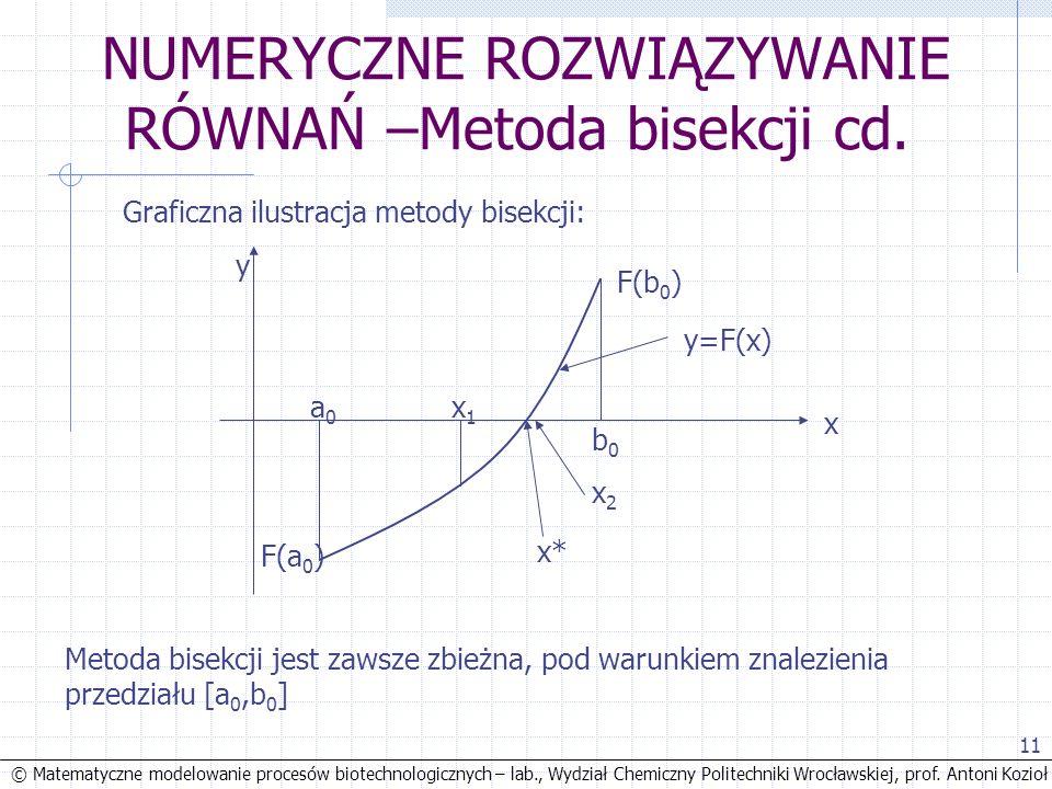© Matematyczne modelowanie procesów biotechnologicznych – lab., Wydział Chemiczny Politechniki Wrocławskiej, prof. Antoni Kozioł 11 NUMERYCZNE ROZWIĄZ