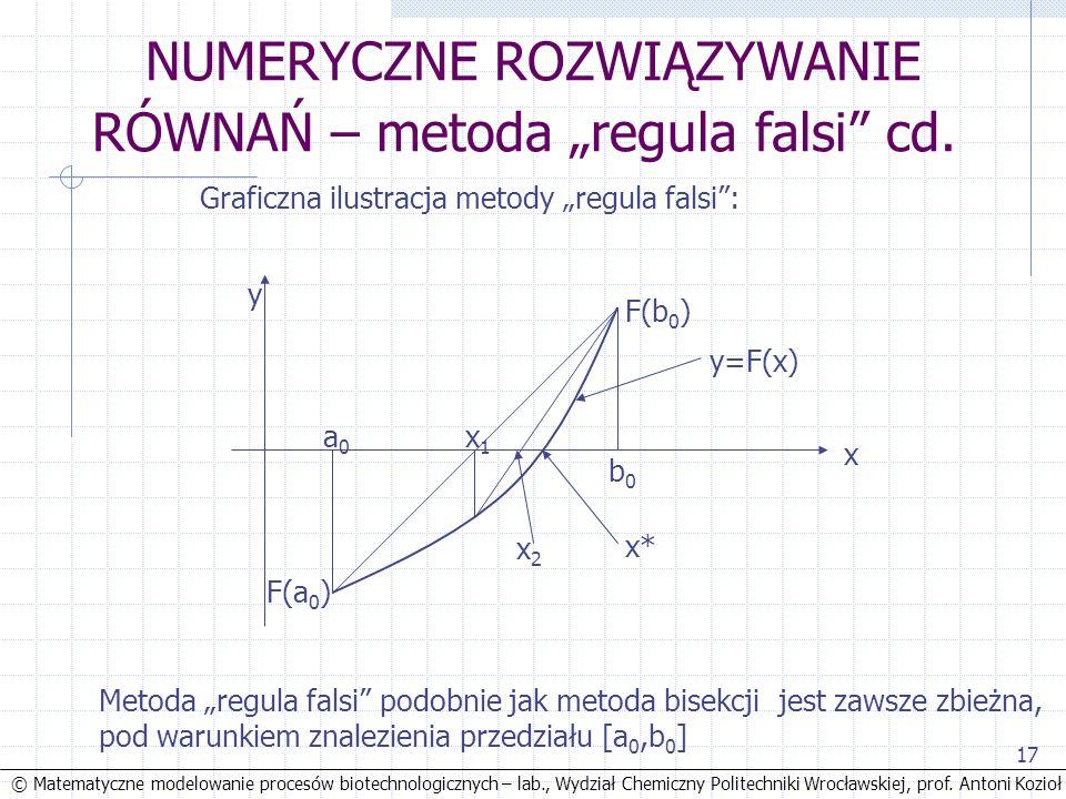 © Matematyczne modelowanie procesów biotechnologicznych – lab., Wydział Chemiczny Politechniki Wrocławskiej, prof. Antoni Kozioł 17 NUMERYCZNE ROZWIĄZ