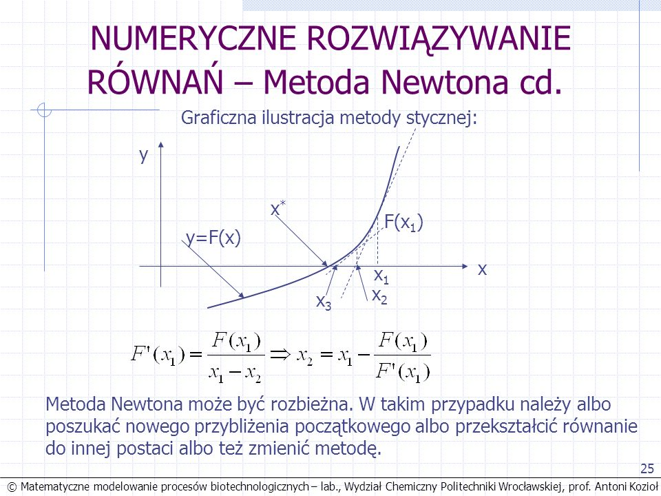 © Matematyczne modelowanie procesów biotechnologicznych – lab., Wydział Chemiczny Politechniki Wrocławskiej, prof. Antoni Kozioł 25 NUMERYCZNE ROZWIĄZ