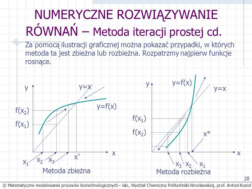 © Matematyczne modelowanie procesów biotechnologicznych – lab., Wydział Chemiczny Politechniki Wrocławskiej, prof. Antoni Kozioł x2x2 28 NUMERYCZNE RO
