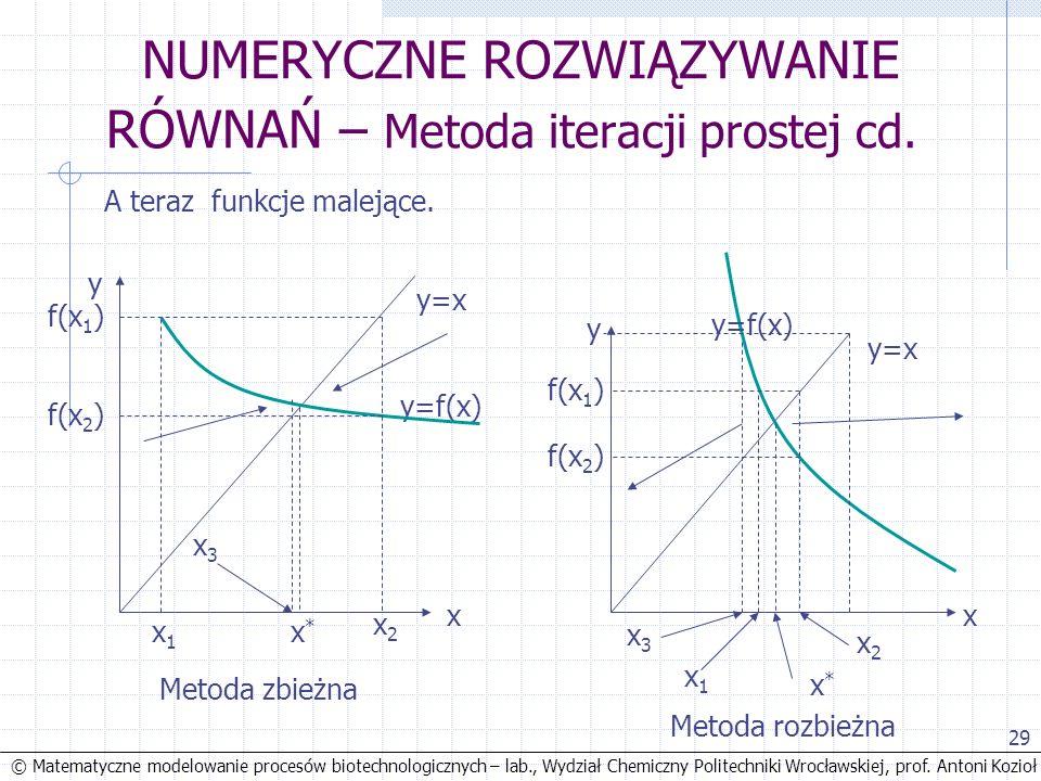 © Matematyczne modelowanie procesów biotechnologicznych – lab., Wydział Chemiczny Politechniki Wrocławskiej, prof. Antoni Kozioł 29 NUMERYCZNE ROZWIĄZ