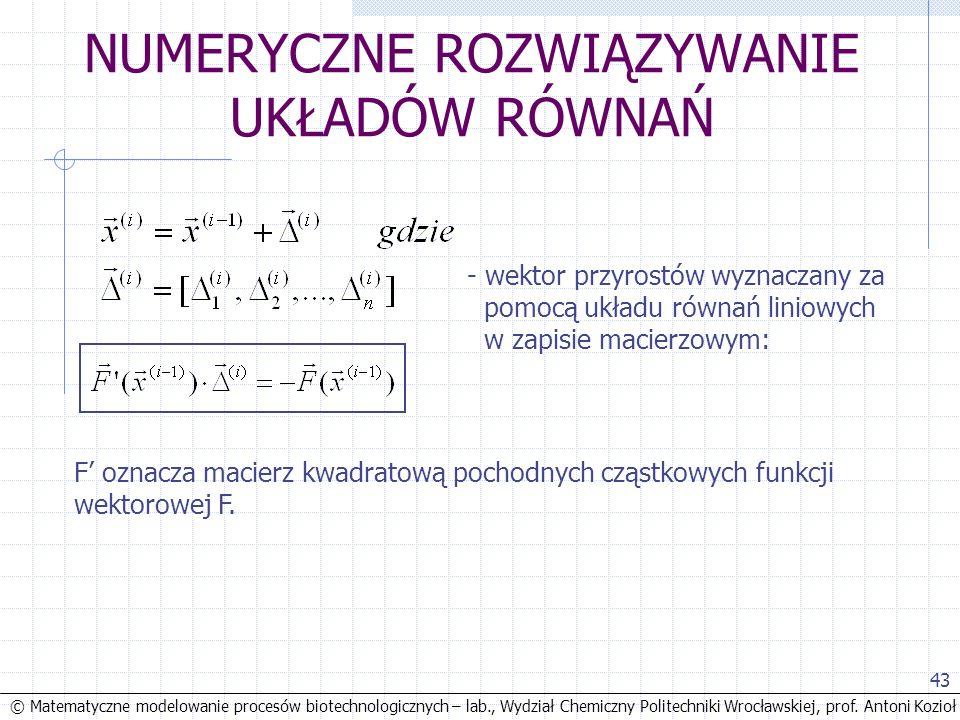 © Matematyczne modelowanie procesów biotechnologicznych – lab., Wydział Chemiczny Politechniki Wrocławskiej, prof. Antoni Kozioł 43 NUMERYCZNE ROZWIĄZ
