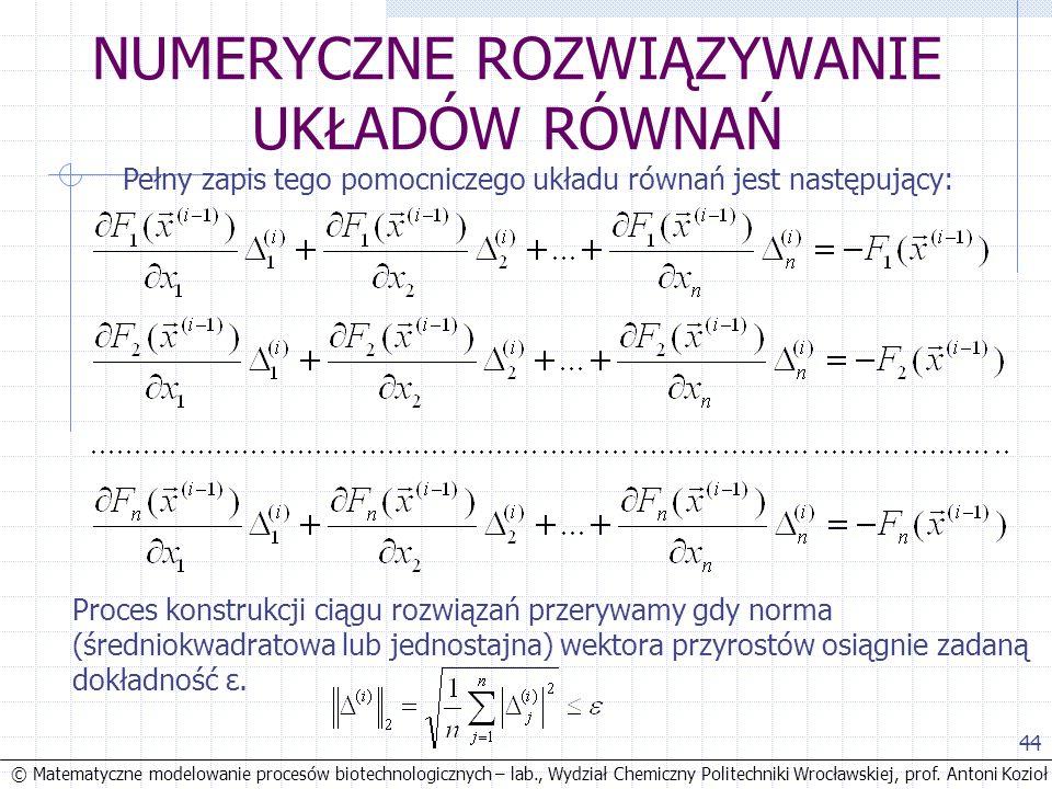 © Matematyczne modelowanie procesów biotechnologicznych – lab., Wydział Chemiczny Politechniki Wrocławskiej, prof. Antoni Kozioł 44 NUMERYCZNE ROZWIĄZ