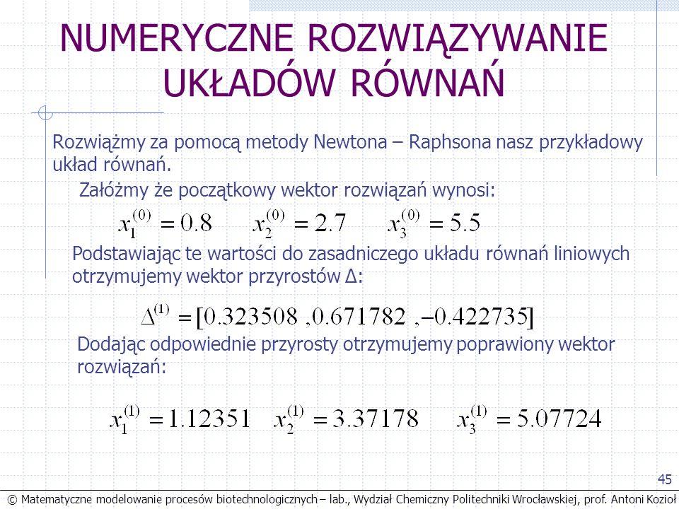 © Matematyczne modelowanie procesów biotechnologicznych – lab., Wydział Chemiczny Politechniki Wrocławskiej, prof. Antoni Kozioł 45 NUMERYCZNE ROZWIĄZ