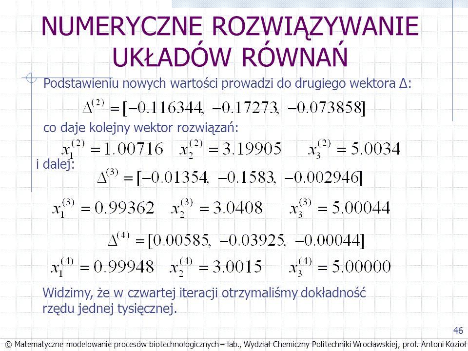 © Matematyczne modelowanie procesów biotechnologicznych – lab., Wydział Chemiczny Politechniki Wrocławskiej, prof. Antoni Kozioł 46 NUMERYCZNE ROZWIĄZ