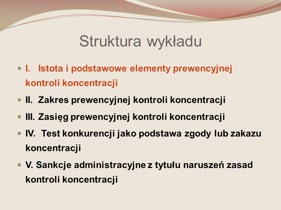 I.Istota i podstawowe elementy prewencyjnej kontroli koncentracji Jaki jest zakres wykładu.