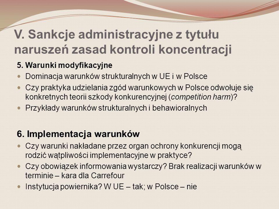 V. Sankcje administracyjne z tytułu naruszeń zasad kontroli koncentracji 5. Warunki modyfikacyjne Dominacja warunków strukturalnych w UE i w Polsce Cz