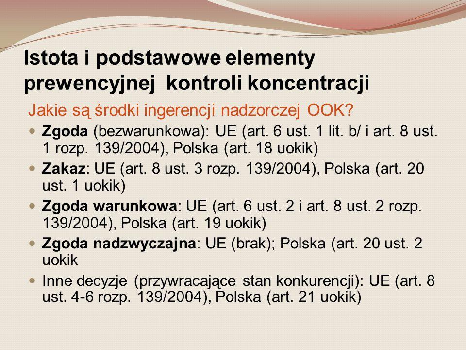 Istota i podstawowe elementy prewencyjnej kontroli koncentracji Jakie są środki ingerencji nadzorczej OOK? Zgoda (bezwarunkowa): UE (art. 6 ust. 1 lit