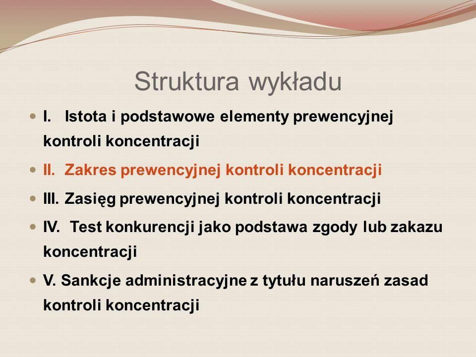 II.Zakres prewencyjnej kontroli koncentracji Co podlega kontroli (przedmiot kontroli).