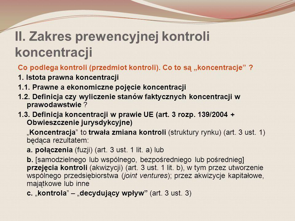II.Zakres prewencyjnej kontroli koncentracji 1.4.