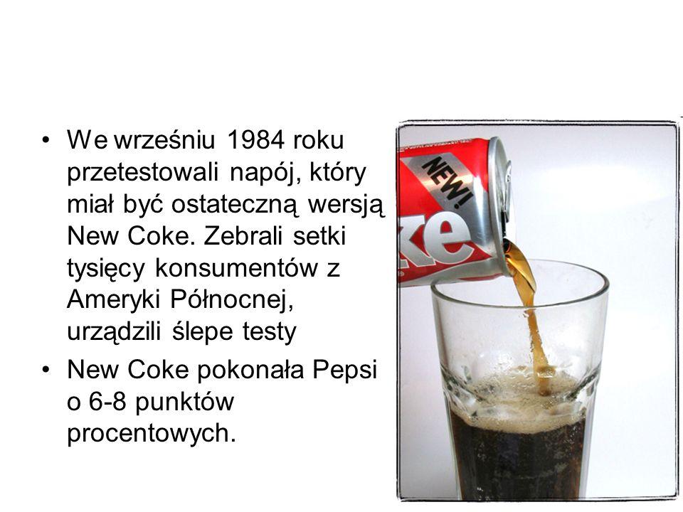 We wrześniu 1984 roku przetestowali napój, który miał być ostateczną wersją New Coke.